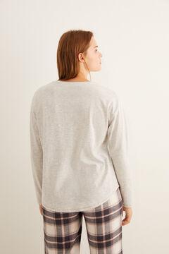 Womensecret Серая футболка с широким круглым вырезом на пуговицах 'Sleep' серый