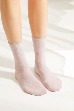 Womensecret Набор из 3 пар длинных носков с принтом серый