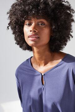 Womensecret Синяя футболка из хлопка с длинными рукавами голубой