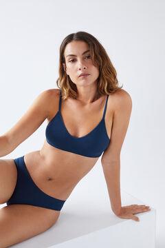 Womensecret Бесшовные трусики-бразилиана синего цвета голубой