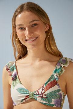 Womensecret Топ бикини с цветочным принтом из переработанной ткани зеленый