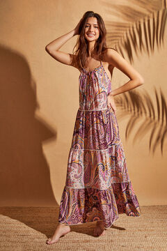 Womensecret Длинное платье на бретелях с оборками и принтом «пейсли» розовый