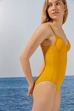 Womensecret Горчичный купальник с V-образным вырезом и эффектом волн желтый