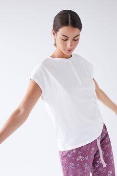 Womensecret Белая хлопковая футболка с круглой горловиной на пуговицах цветной