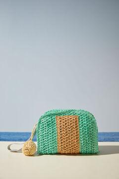 Womensecret Сумка-клатч из рафии натурального цвета двух оттенков зеленый