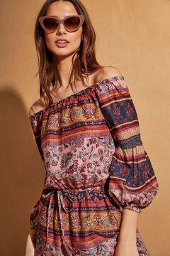 Womensecret Длинное платье с открытыми плечами и цветочным принтом голубой