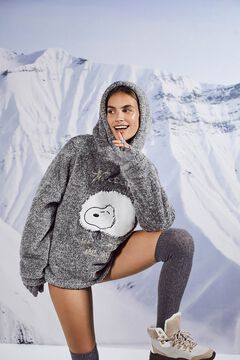 Womensecret Серая пушистая длинная пижама «Снупи» серый