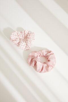 Womensecret Набор резинок для волос с принтом в клетку «виши» и сердечками розовый