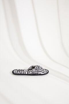 Womensecret Домашние тапочки без задника с декоративным узлом и зебровым принтом бежевый