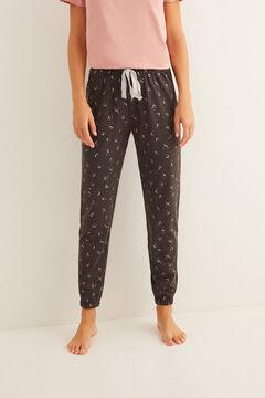 Womensecret Длинные пижамные брюки с принтом «Луна» серый
