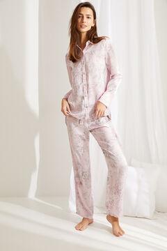 Womensecret Длинная атласная пижама в рубашечном стиле с цветочным принтом розового цвета розовый
