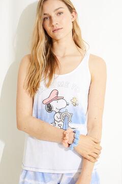Womensecret Короткая пижама с верхом на бретелях и принтом тай-дай из 100 % хлопка «Снупи» белый