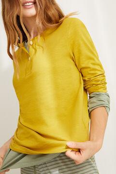 Womensecret Хлопковая футболка с длинными рукавами и круглой горловиной на пуговицах оливкового цвета зеленый