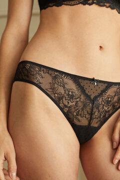 Womensecret Черные классические трусики из флокированного тюля и кружева черный