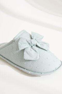 Womensecret Зеленые домашние тапочки без задника с плюмети и узлом голубой