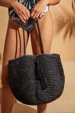 Womensecret Черная сумка из рафии с помпонами черный