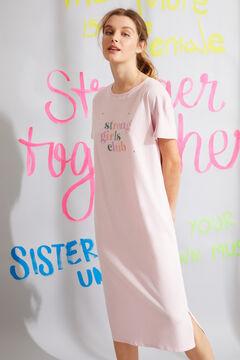 Womensecret Хлопковая ночная рубашка миди с короткими рукавами  розовый