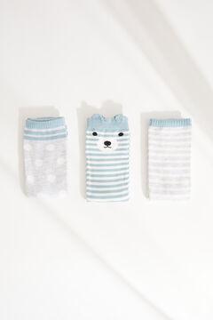 Womensecret Набор из 3 пар носков средней длины с принтом с медвежатами синего цвета цветной