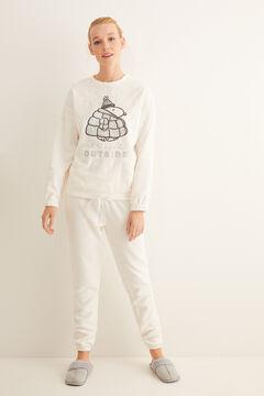 Womensecret Белая длинная пижама из флиса «Снупи»  бежевый
