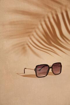 Womensecret Квадратные солнцезащитные очки и коричневый футляр с анималистичным принтом цветной