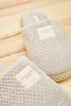 Womensecret Серые бархатные домашние тапочки без задника серый