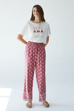 Womensecret Длинные брюки с пальмами розовый