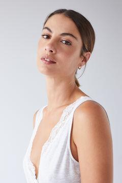 Womensecret Серая ночная рубашка миди с принтом и кружевом серый