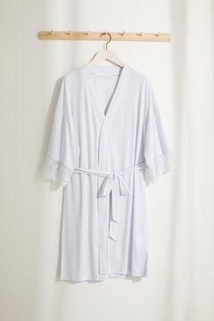 Womensecret Атласный халат с кружевом Maternity голубой