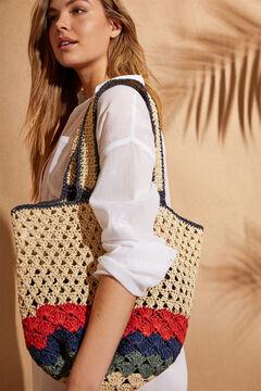 Womensecret Большая сумка из рафии с длинной ручкой бежевый