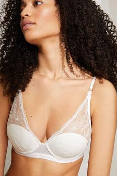 Womensecret INTUITIVE Белый бюстгальтер халтер на косточках и с наполнителем из хлопка и кружева белый