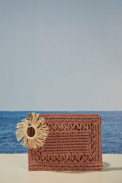 Womensecret Сумка-клатч из рафии натурального цвета с браслетом розовый