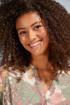 Womensecret Сорочка с цветочным принтом и пуговицами бежевый