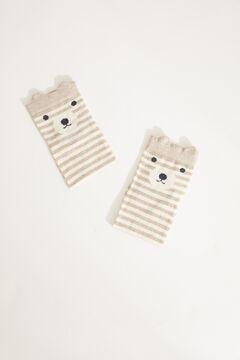 Womensecret Короткие носки из хлопка в полоску «Медвежонок» бежевый