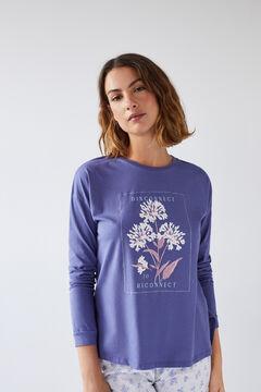 Womensecret Синяя хлопковая футболка с длинными рукавами голубой