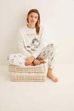 Womensecret Длинная велюровая пижама «Снупи» бежевый