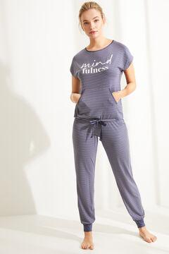 Womensecret Длинная пижама с короткими рукавами из невероятно мягкого трикотажа в полоску голубой