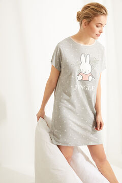 Womensecret Короткая ночная рубашка из хлопка с принтом «Миффи»  серый