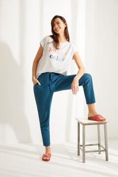 Womensecret Синие брюки-джоггеры из хлопка голубой