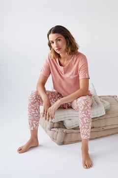 Womensecret Пижама с верхом с короткими рукавами и длинными брюками из органического хлопка розовый