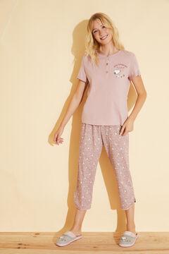 Womensecret Хлопковая пижама с брюками капри розового цвета «Снупи» розовый