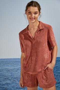 Womensecret Удобная короткая пижама в рубашечном стиле красный