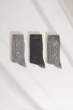Womensecret Набор из 3 пар длинных носков в рубчик серого цвета серый