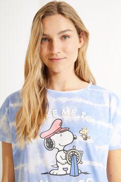 Womensecret Короткая ночная рубашка из 100% хлопкового трикотажа с принтом тай-дай голубой