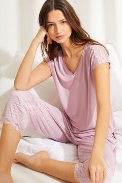 Womensecret Розовая пижама капри с короткими рукавами из невероятно мягкого трикотажа с полосатым принтом розовый