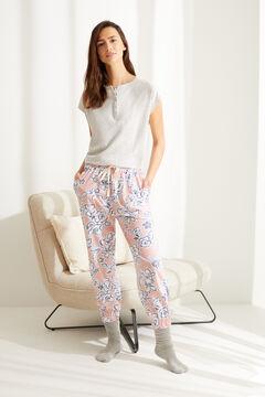 Womensecret Розовые брюки-джоггеры из хлопка с цветочным принтом коричневый