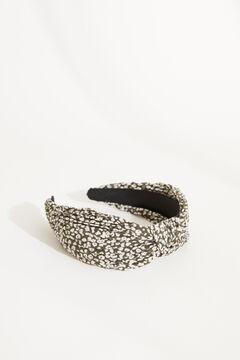 Womensecret Плиссированный ободок для волос с декоративным узлом черного цвета с анималистичным принтом черный
