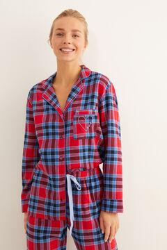 Womensecret Длинная клетчатая фланелевая пижама в рубашечном стиле цветной