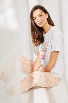 Womensecret Хлопковая длинная пижама с верхом с короткими рукавами розового цвета «Снупи» серый