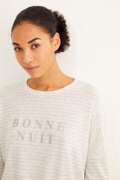 Womensecret Теплая длинная пижама с полосатым принтом серого цвета серый