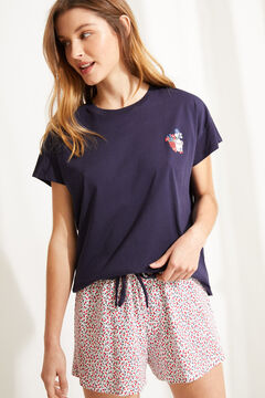 Womensecret Короткая пижама из органического хлопка с цветочным принтом синего цвета голубой